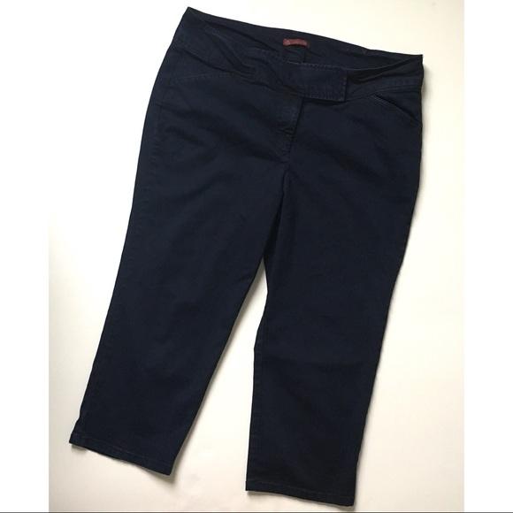 2aaed2ac61 Dress Barn Pants - Dressbarn Dark Wash Stretchy Denim Capri Pants